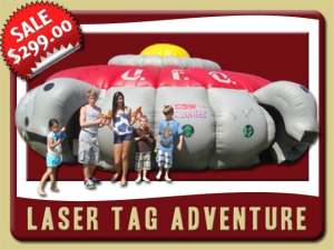 Inflatable Laser Tag Adventure Party Rental, Game, Gray, Red, Yellow