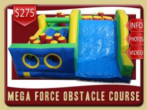 Mega Force Inflatable Obstacle Course Rental, Green, Blue, Red, Yellow