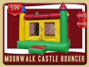 Moonwalk Castle Bouncer Rental, Green, Red, Yellow