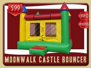 Moonwalk Castle Bouncer Rental, Green, Red, Yellow