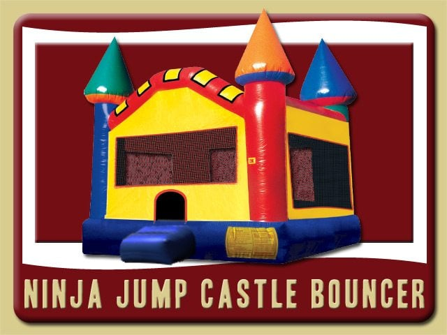 Ninja Jump Castle Inflatable Rental Beland blue yellow red