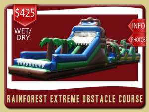 rainforest obstacle course inflatable rental palm coast price blue green brown palm trees