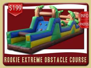 Rookie Extreme Obstacle Course Rentals, Inflatable, Rock Wall, Palm Tree, Green, Blue, Brown