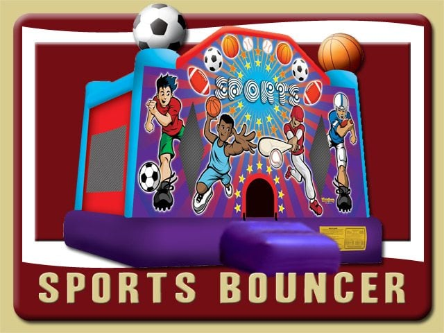 Sport Bounce House Basketball Baseball Football Soccer Rental Ormond Beach Purple Blue Red