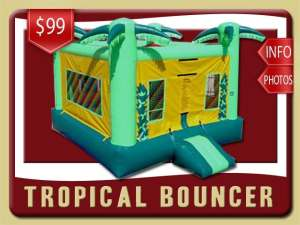 Tropical Bounce House Rental, Palm Trees, Green, Yellow