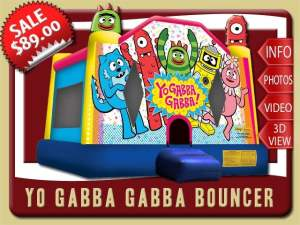 Yo Gabbba Gabba Bounce House Rental, uno red cyclops, Foofa pink flower bubble, Brobee hairy green monster, Toodee blue cat-dragon, Plex magic yellow robot