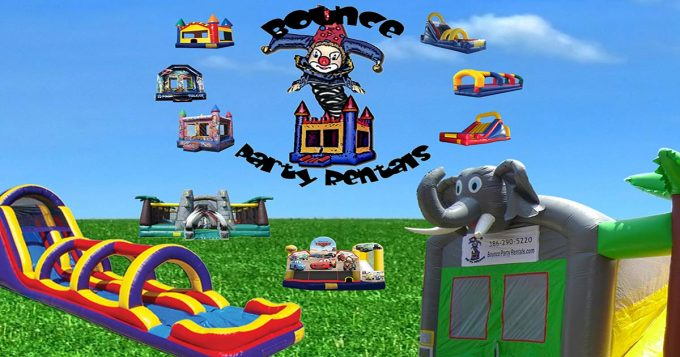 Bounce Party Retnals Inflatables, Logo with bounce houses around