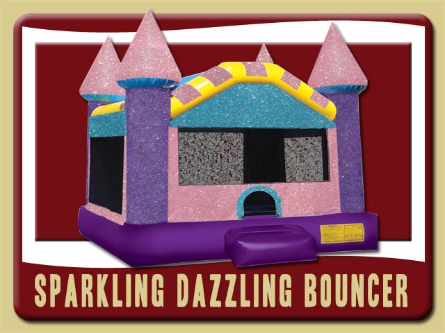 Sparkling Dazzling Castle Bounce House Rental, Pink, Purple, Blue, Yellow