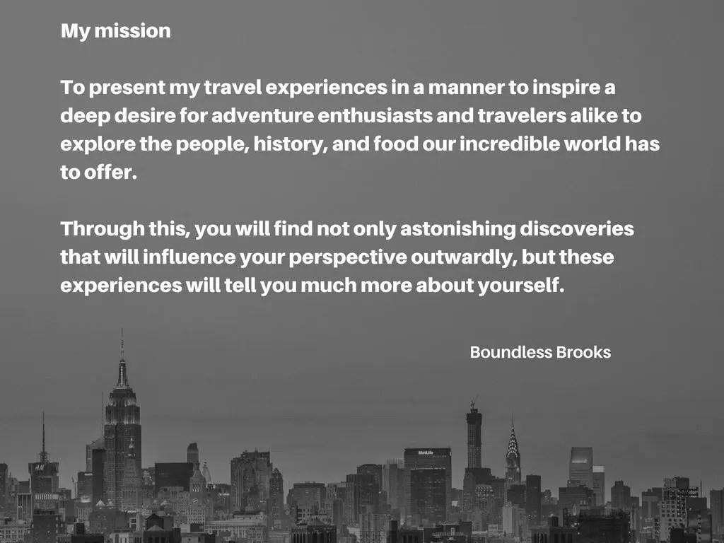 Adventure travel mission