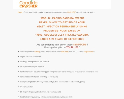 Candida Treatment Solution – Candida Crusher – Permanent Yeast Infection Solution