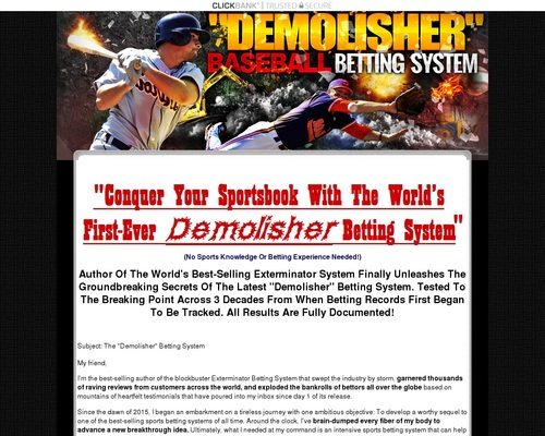 Tony Chau's Demolisher MLB Baseball Sports Betting System