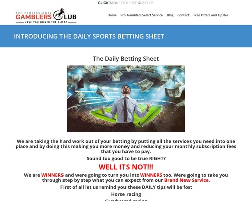 INTRODUCING THE DAILY SPORTSBETTING CLUB – Welcome To The professional Gamblers Club