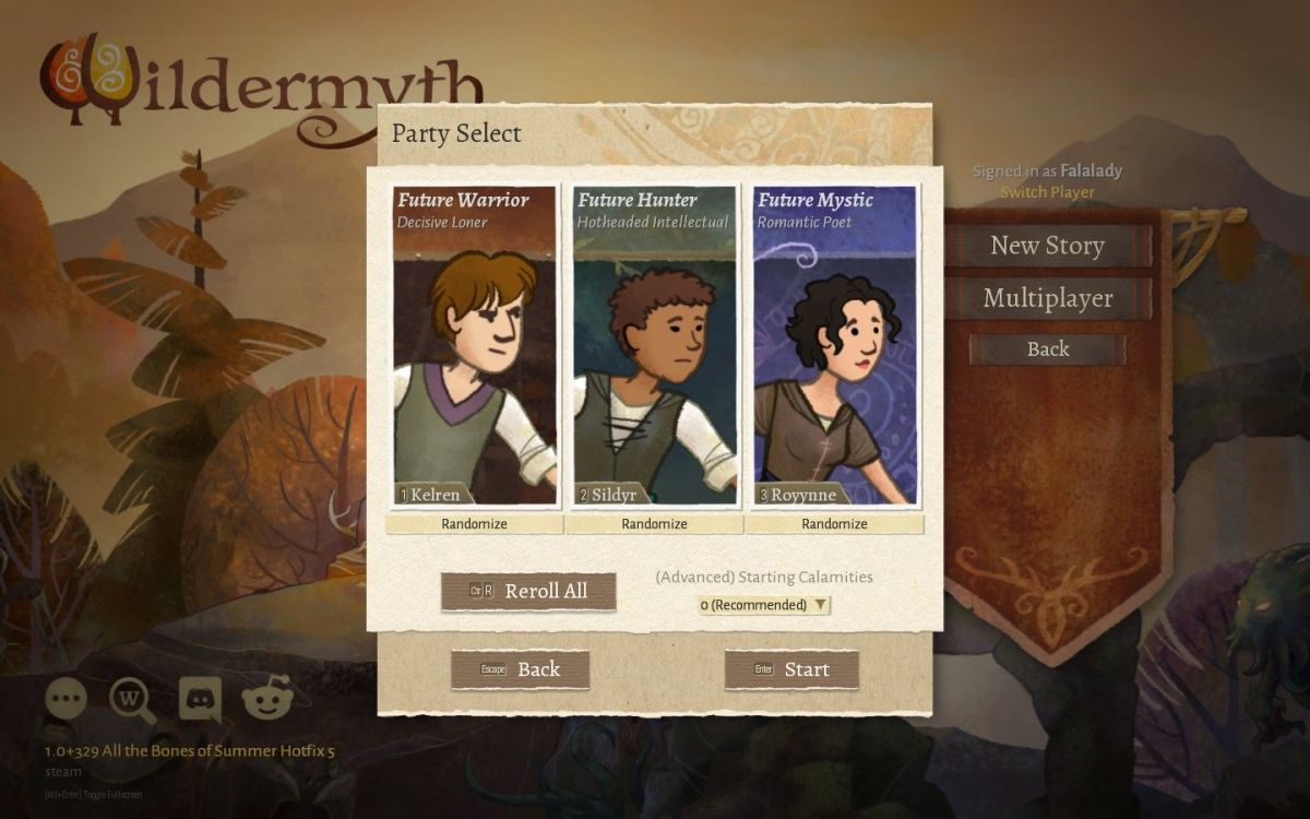Selecting a party in Wildermyth