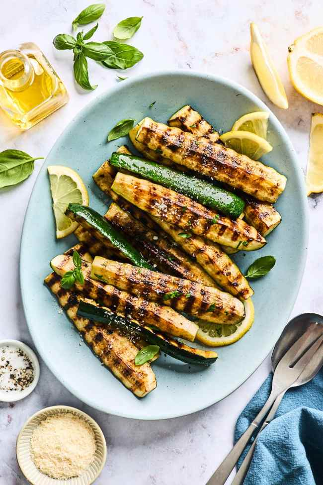grilled zucchini on platter