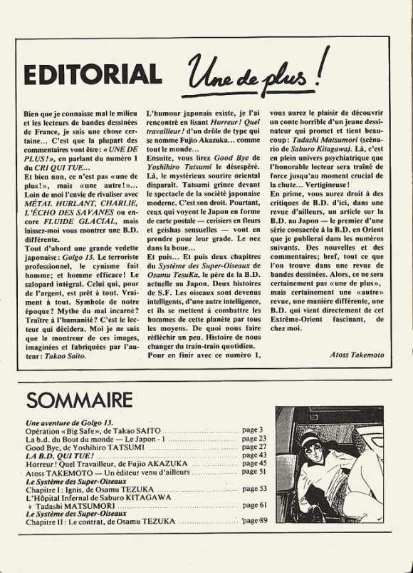 édito cri qui tue Préhistoire du manga en France