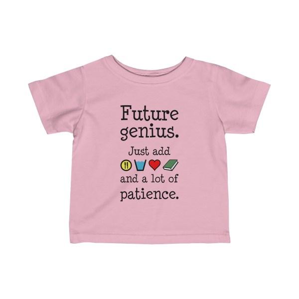 Future genius infant t-shirt - light pink