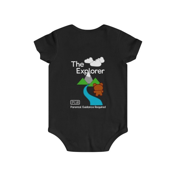 Play with me explorer (parental guidance required) infant onesie bear edition - back - black