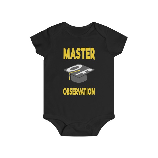 Master of observation baby see baby do infant onesie - front - black