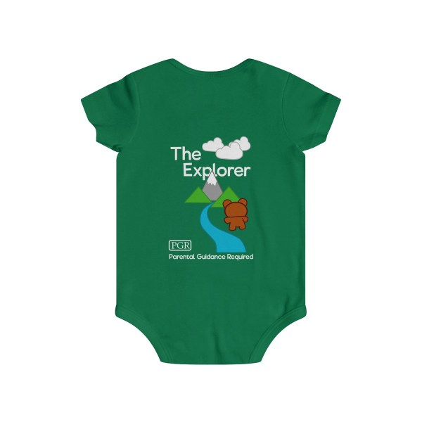 Play with me explorer (parental guidance required) infant onesie bear edition - back - green