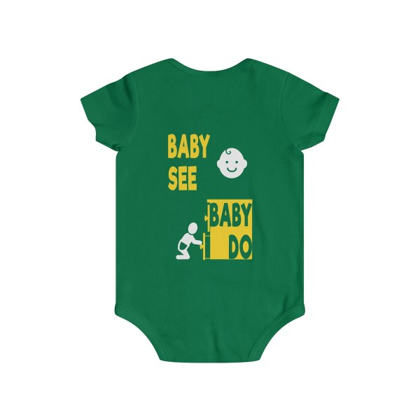 Master of observation baby see baby do infant onesie - back - green