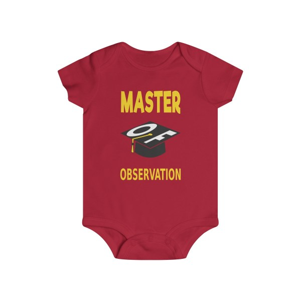 Master of observation baby see baby do infant onesie - front - red