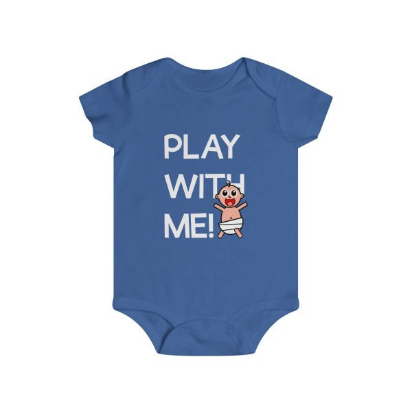 Play with me explorer (parental guidance required) infant onesie - front - blue