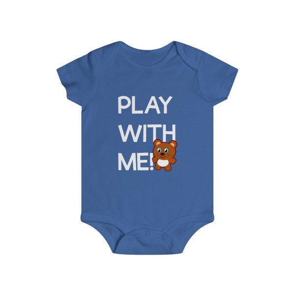 Play with me explorer (parental guidance required) infant onesie bear edition - front - blue
