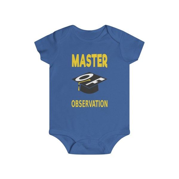 Master of observation baby see baby do infant onesie - front - blue