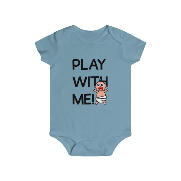 Play with me explorer (parental guidance required) infant onesie - front - light blue