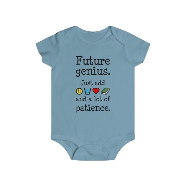 Future genius infant onesie - light blue