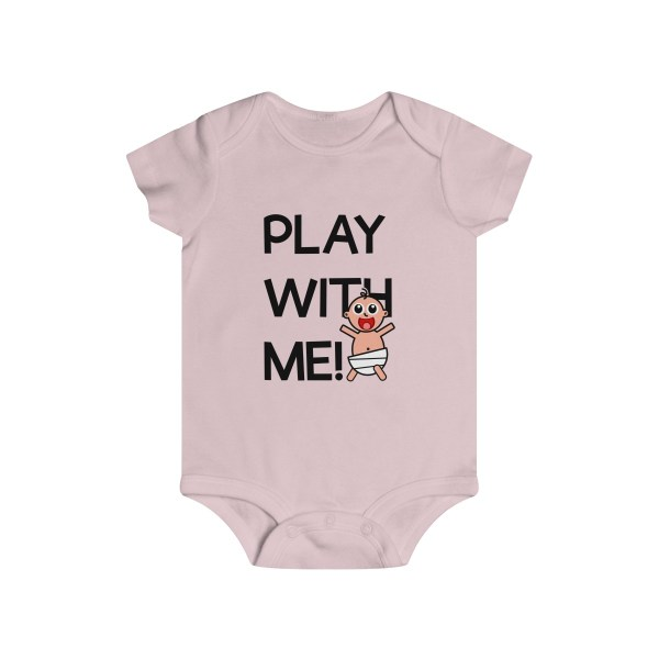 Play with me explorer (parental guidance required) infant onesie - front - light pink