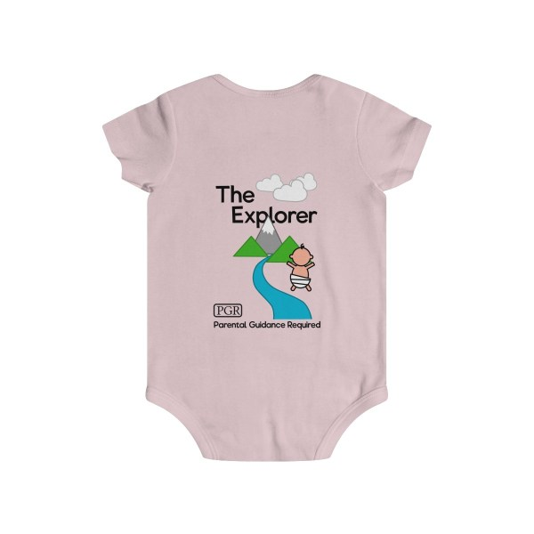 Play with me explorer (parental guidance required) infant onesie - back - light pink