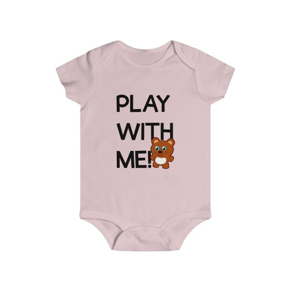 Play with me explorer (parental guidance required) infant onesie bear edition - front - light pink