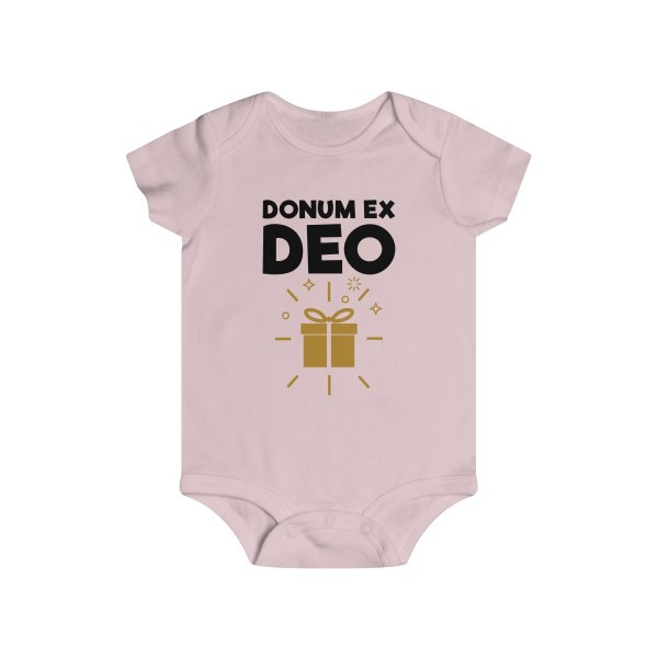Donum ex Deo (gift from God) infant onesie - light pink