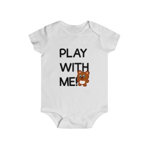 Play with me explorer (parental guidance required) infant onesie bear edition - front - white