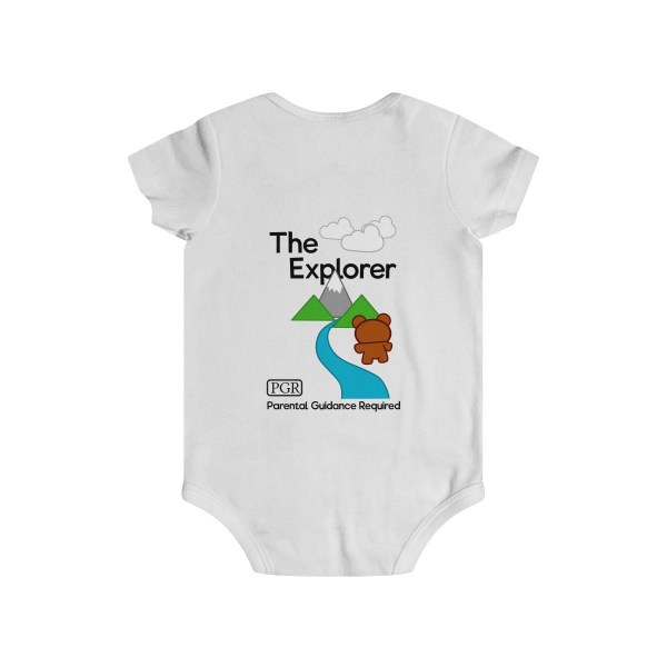 Play with me explorer (parental guidance required) infant onesie bear edition - back - white