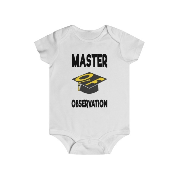 Master of observation baby see baby do infant onesie - front - white