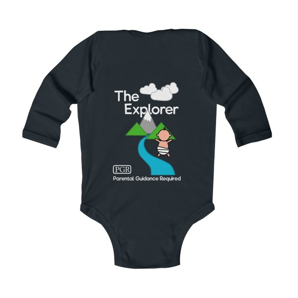 Play with me explorer (parental guidance required) long-sleeved infant onesie - back - black