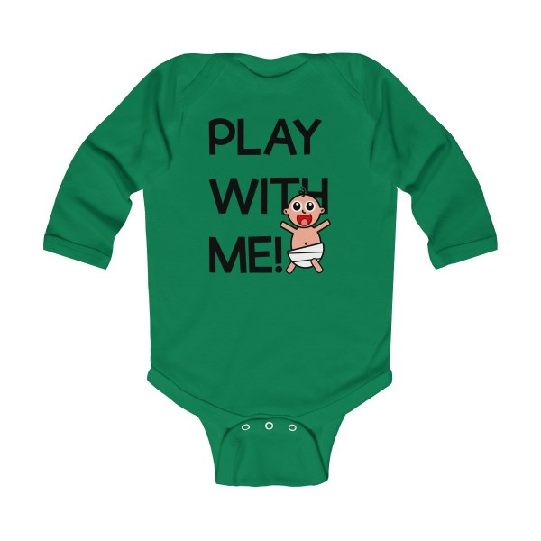 Play with me explorer (parental guidance required) long-sleeved infant onesie - front - green