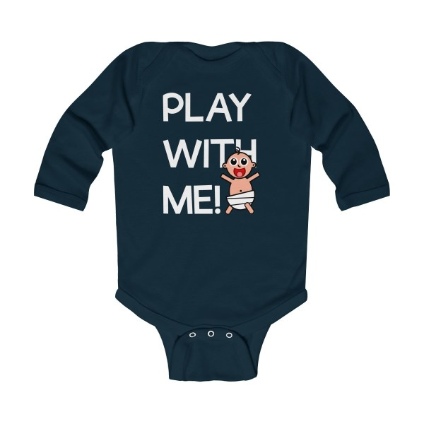 Play with me explorer (parental guidance required) long-sleeved infant onesie - front - navy blue
