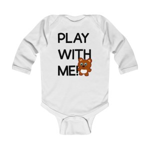 Play with me explorer (parental guidance required) long-sleeved infant onesie bear edition - front - white
