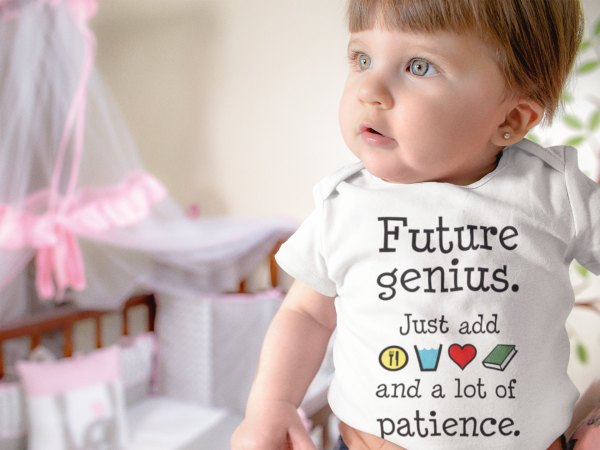 Baby girl wearing Future Genius onesie