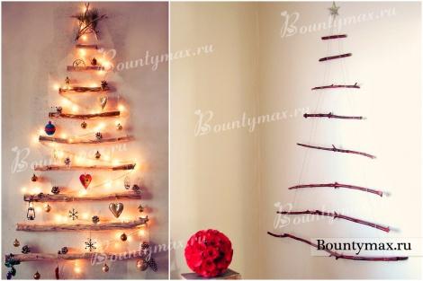 1445938303_3 Елка на стене: необычная елка своими руками. Новогодняя елочка из сухих веток, деревянных палок и коряг