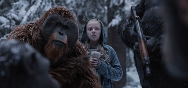 """Karin Konoval, left, and Amiah Miller in Twentieth Century Fox's """"War for the Planet of the Apes."""""""