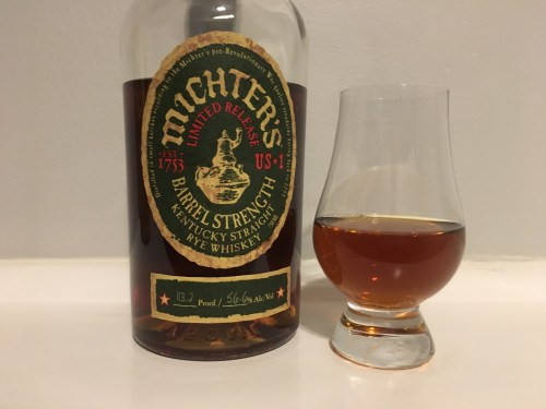 Bottle of Michter's Rye and glancairn glass