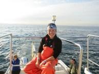 Happy days at sea in my orange waterproofs
