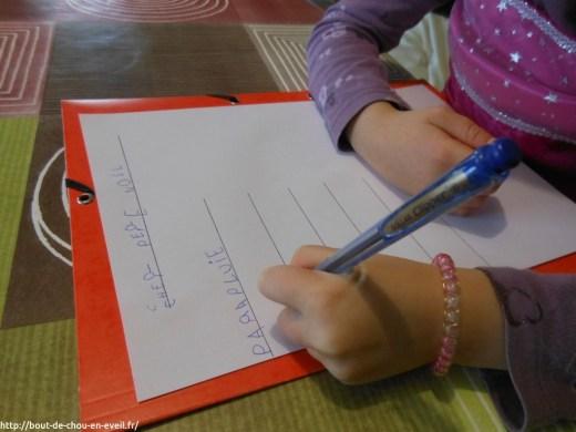 Lettre au Père-Noel enfant 4 ans