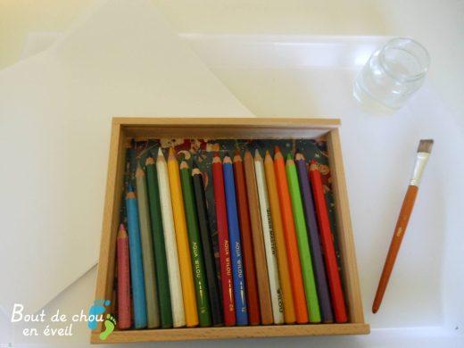 Activité créative avec des crayons aquarellables