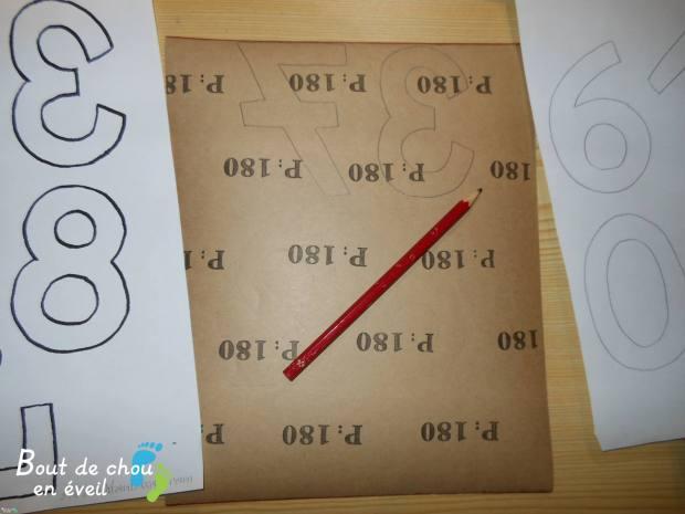 Activité Montessori chiffres rugueux
