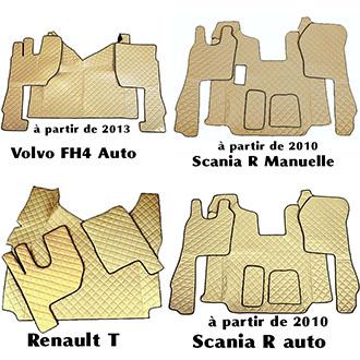 Beige Velour tapis voiture Tapis Scania R année ab 2014